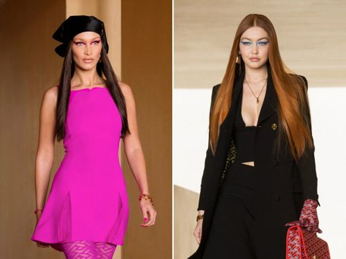 Gigi Hadid back on the runway for the first time since giving birth as she joins sister Bella at Versace show