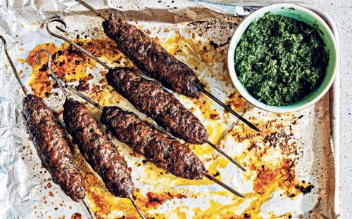 Beef seekh kebab with coriander and parsley chutney recipe