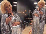 Katy Perry drapes baby bump in shimmery silver dress for Space Launch Live event