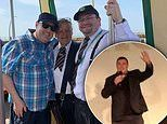 Peter Kay pictured for the first time in A YEAR as he poses with fans on board a tram in Blackpool