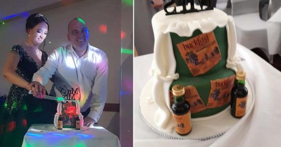 Couple celebrate their wedding with a Buckfast-themed cake and then neck the drink