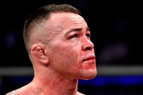 Moment Kamaru Usman appears to break Colby Covington's jaw during UFC war