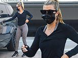 Sofia Richie keeps it casual in black henley and skintight grey leggings as she runs errands in LA