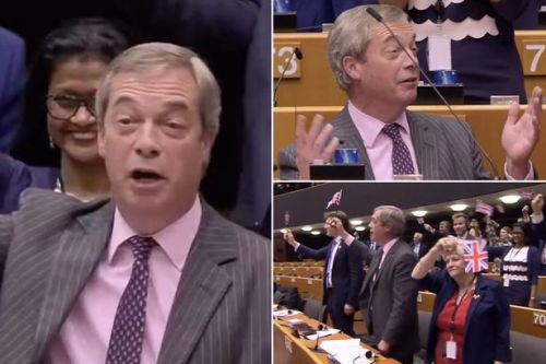 Brexit: Nigel Farage's final EU speech silenced after he waves Union flag