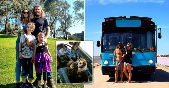 Couple sell their home to live 'off-grid' on a bus with their two kids and two dogs