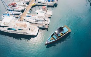 Electric powered boats on display at Green Tech Boat Show Plymouth