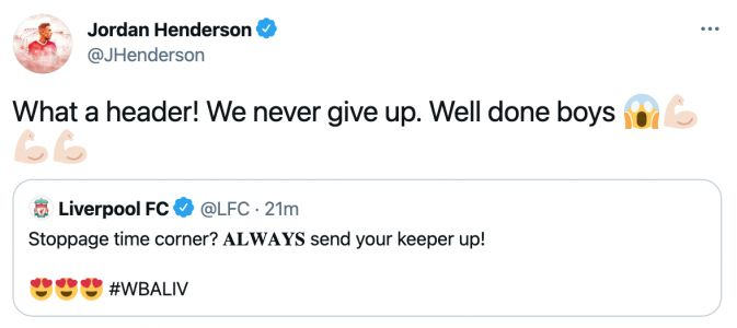 Jordan Henderson reacts to Alisson Becker's goal in Liverpool FC's 2-1 win at West Brom