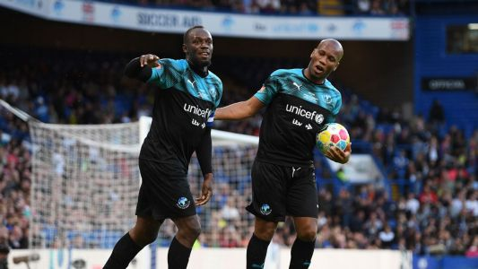 Charity goals: Bolt nets as World XI beat England