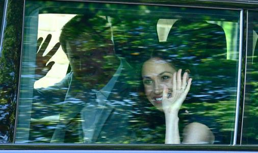 Royal Wedding: Smiling Meghan Markle waves as she and Harry arrive for tea with Queen