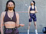 Rumer Willis tones her fit physique as she has a private workout session with a personal trainer