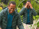 Andi Peters is SOAKED by the sprinklers in his garden