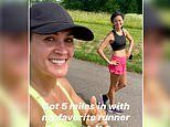 Carrie Underwood flaunts her flawless complexion after embarking on a five mile run with a pal