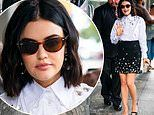 Lucy Hale glitters in white rhinestone-encrusted blouse and black miniskirt for Katy Keene screening