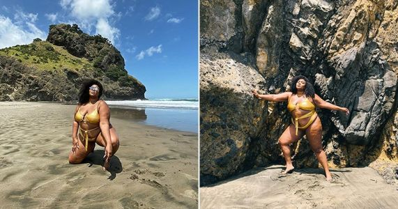 Lizzo strikes all the angles in shiny gold bikini on Auckland beach
