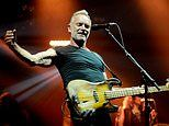 Sting, 67, shows off his muscles as he rocks the stage with Shaggy, 50