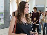Angelina Jolie, 44, has tears in her eyes as she says 'I'm trying not to cry' at Maddox's college
