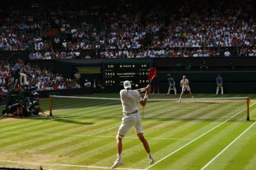 Kevin Anderson and John Isner playing out longest ever Wimbledon semi-final in centre court epic