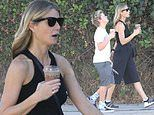 Gwyneth Paltrow looks relaxed as she steps out for refreshments with son Moses, 13