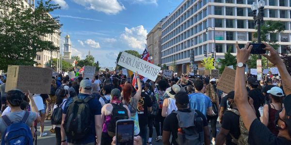 Thousands of protesters took to Washington, DC, for the city's largest demonstration yet over George Floyd's death