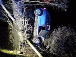Police arrest driver on suspicion of drink driving after a car crashed into a telegraph pole