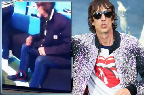 Fans shocked as 'mysterious sachet' falls out of Richard Ashcroft's SOCK on live daytime TV