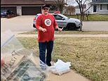 Pizza Hut driver and customer awkwardly negotiate delivery sticking to social distancing rules