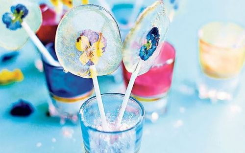 Edible flower lollipops recipe