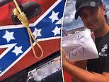 Indiana man hangs a Confederate flag and a noose on the back of his pick-up truck