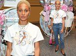 Adwoa Aboah keeps it casual in a quirky graphic T-shirt and 90s style jeans at fashion bash
