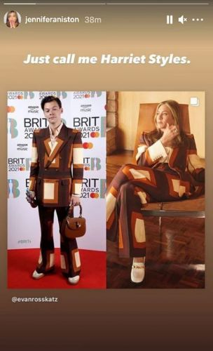 Jennifer Aniston's Reaction To Wearing The Same Suit As Harry Styles Is Just Perfect