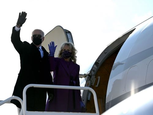 Biden flew to DC on a luxurious Boeing 737 private jet with its own master bedroom and shower - see inside