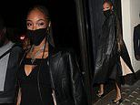 Jourdan Dunn cuts a stylish figure in a demure dress and trench coat as she celebrates turning 30