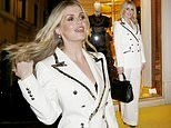 Lady Kitty Spencer exudes elegance in a cream trouser suit atDolce & Gabbana party in Rome