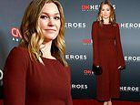 Julia Stiles looks elegant in maroon dress as she attends CNN Heroes: An All-Star Tribute in NYC