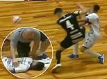 Shocking moment a futsal player is KNOCKED OUT after his opponent karate kicks him