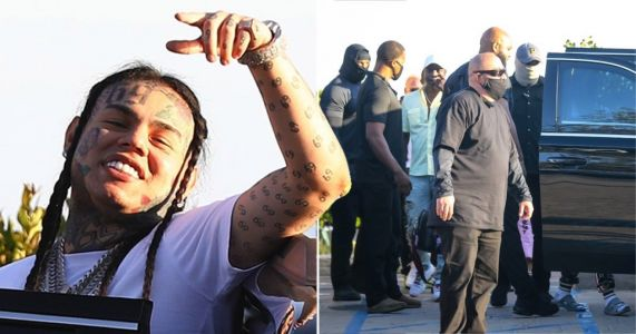 Tekashi 6ix9ine heads out for lunch with Akon and huge security team after house arrest