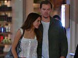 Binky Felstead puts on a VERY cosy display with her mystery new man as they enjoy dinner with pals