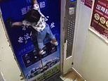 Heart-stopping moment toddler girl is dragged up the doors of a descending lift by her child leash