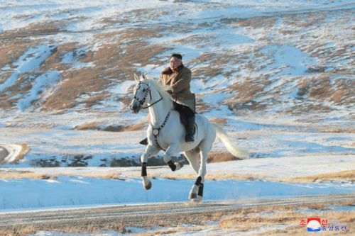 Kim Jong Un Vows To Fight US Sanctions - Whilst Riding A Horse Up A Mountain In The Snow
