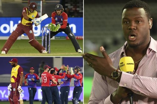 Carlos Brathwaite reacts as West Indies record third-lowest score in T20 World Cup history