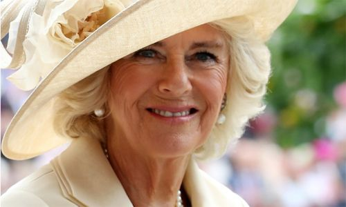 Duchess Camilla is the queen of Royal Ascot in matching dress and mask
