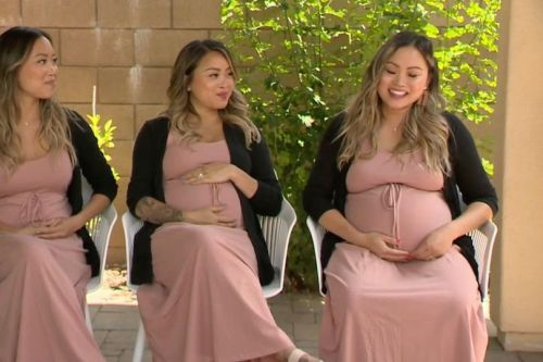 Triplet sisters all fall pregnant at the same time