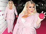 Gemma Collins looks in high spirits as she sports a bold pink suit at perfume launch
