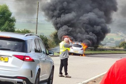 Car fireball horror on A96 as black plumes of smoke billow above Aberdeenshire