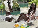 Jodie Turner-Smith shows off her figure in an embroidered dress and a white bikini