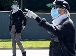 Diane Keaton dons a medical mask, latex gloves and a deputy sheriff's star while out for a walk
