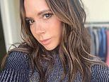 Victoria Beckham gets into the festive spirit as she poses in a sparkly jumper
