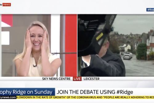 Labour MP battles weather in live interview as lights nearly crash into him