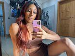 Alexandra Burke shows off her killer abs in a brown crop top and matching hotpants
