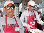 Pharrell Williams helps feed the homeless at the LA Mission with his wife and son on Good Friday